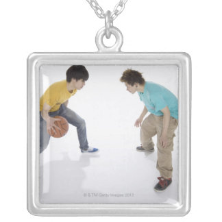 Young men playing basketball silver plated necklace
