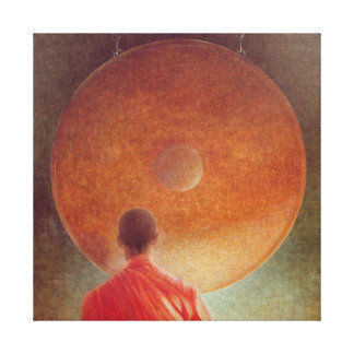 Young Monk with Gong Canvas Print