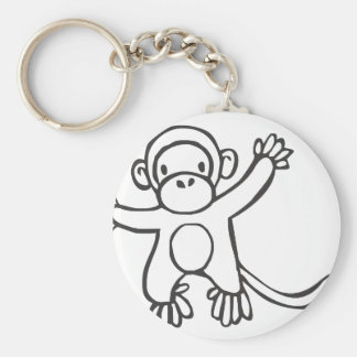 Young Monkey in Black and White Sketch Basic Round Button Key Ring