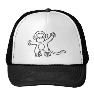 Young Monkey in Black and White Sketch Cap