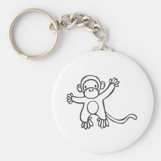 Young Monkey in Black and White Sketch Keychains