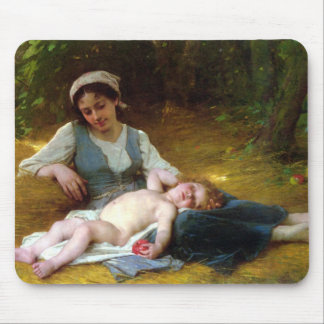 Young Mother And Sleeping Child Mouse Pad
