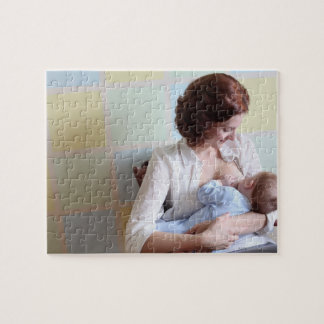young mother breast feeding her baby boy jigsaw puzzle