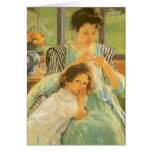 Young Mother Sewing by Mary Cassatt Greeting Card