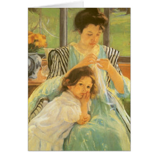 Young Mother Sewing by Mary Cassatt Greeting Cards