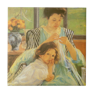 Young Mother Sewing by Mary Cassatt Small Square Tile
