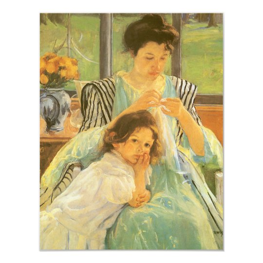 Young Mother Sewing by Mary Cassatt, Vintage Art 11 Cm X 14 Cm Invitation Card