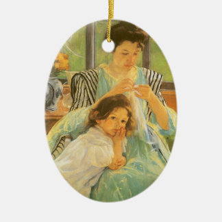 Young Mother Sewing by Mary Cassatt, Vintage Art Christmas Ornament
