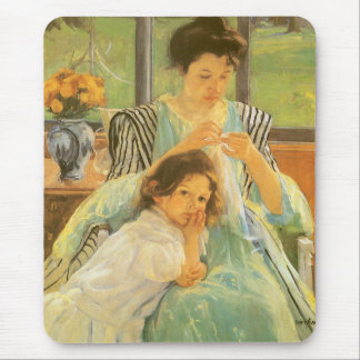 Young Mother Sewing by Mary Cassatt, Vintage Art Mouse Pad