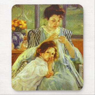 Young Mother Sewing Mary Cassatt Mousepad