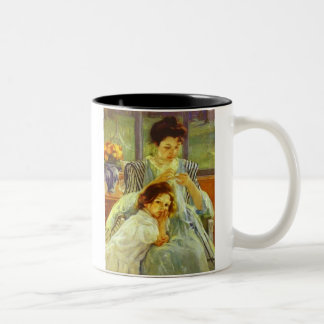 Young Mother Sewing Two-Tone Coffee Mug