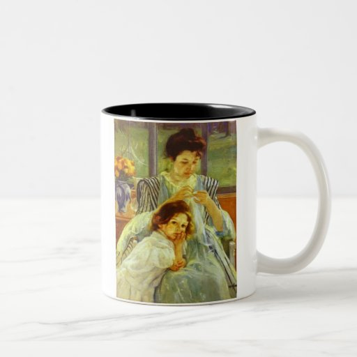 Young Mother Sewing Coffee Mugs