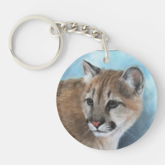 Young Mountain Lion Two Sided Key Chain
