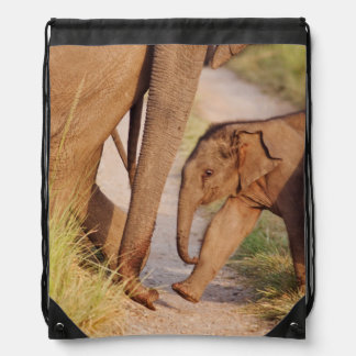 Young one of Indian Asian Elephant Drawstring Bag