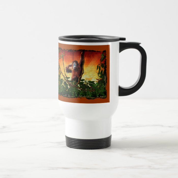 Young Orangutan & Rainforest Sunrise Art Mug