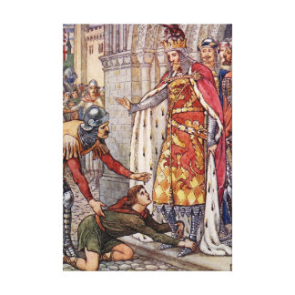Young Owen appeals to King Arthur Canvas Print