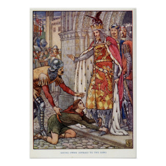 Young Owen appeals to King Arthur Print