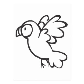 Young Parrot Flying in Black and White Sketch Postcard