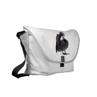 Young Pelican Preening cutout Courier Bag