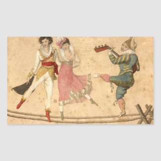 Young People Dancing and Singing, vintage drawing Rectangular Sticker
