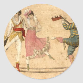 Young People Dancing and Singing, vintage drawing Round Sticker
