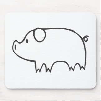 Young Pig in Black and White Sketch Mouse Pads