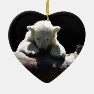 young polar bear on a log ceramic heart decoration