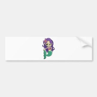Young Purple Haired Mermaid with Big Green Eyes Bumper Sticker