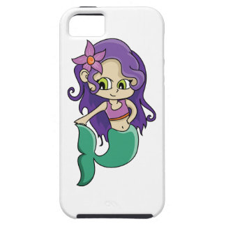 Young Purple Haired Mermaid with Big Green Eyes iPhone 5 Covers