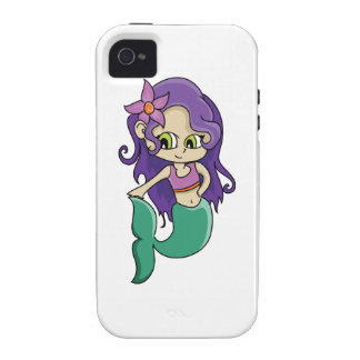 Young Purple Haired Mermaid with Big Green Eyes Case For The iPhone 4