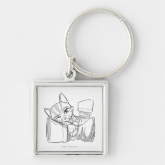 Young Puss In Boots Silver-Colored Square Key Ring