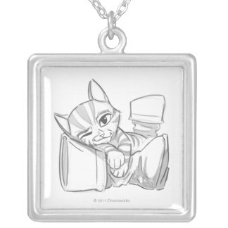 Young Puss In Boots Silver Plated Necklace