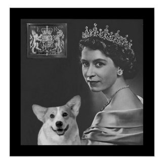 Young Queen Elizabeth II and corgi dog Posters