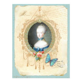 Young Queen Marie Antoinette n Butterfly Print 21.5 Cm X 28 Cm Flyer
