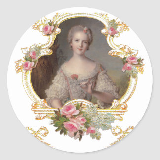 Young Queen Marie Antoinette Pink Roses Cards Classic Round Sticker