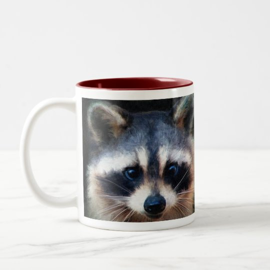 """Young Racoon Portrait"" Two-Tone Coffee Mug"
