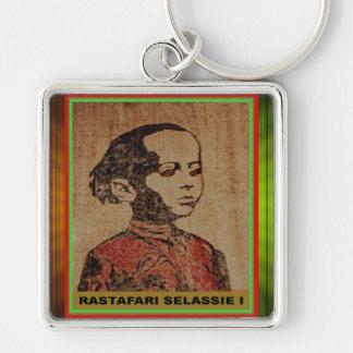 Young Ras, Young Haile Selassie I, Jah Rastafari Silver-Colored Square Key Ring