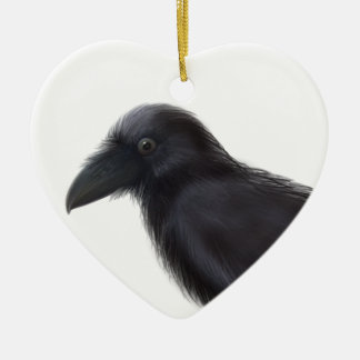 Young Raven Ceramic Heart Decoration