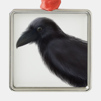 Young Raven Silver-Colored Square Decoration