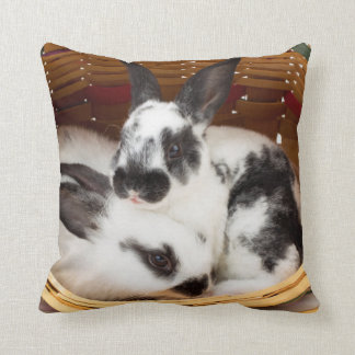 Young Rex rabbits in Easter basket 2 Cushion