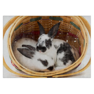 Young Rex rabbits in Easter basket 2 Cutting Board