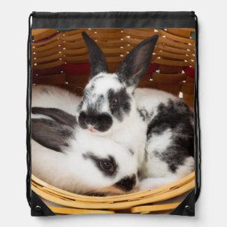 Young Rex rabbits in Easter basket 2 Drawstring Bag