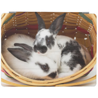 Young Rex rabbits in Easter basket 2 iPad Cover