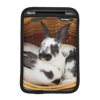 Young Rex rabbits in Easter basket 2 iPad Mini Sleeve