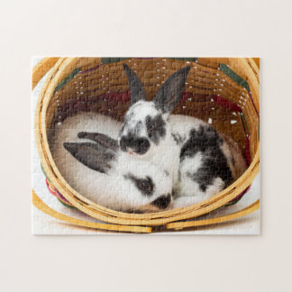Young Rex rabbits in Easter basket 2 Jigsaw Puzzle