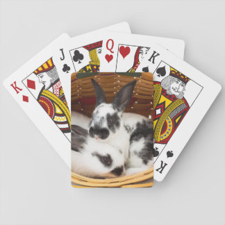 Young Rex rabbits in Easter basket 2 Playing Cards