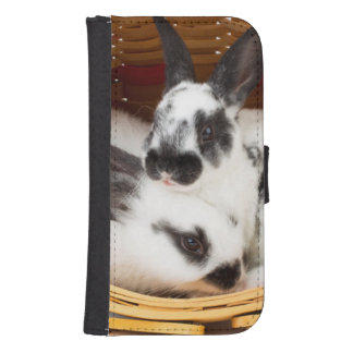 Young Rex rabbits in Easter basket 2 Samsung S4 Wallet Case