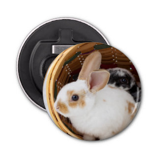 Young Rex rabbits in Easter basket Bottle Opener