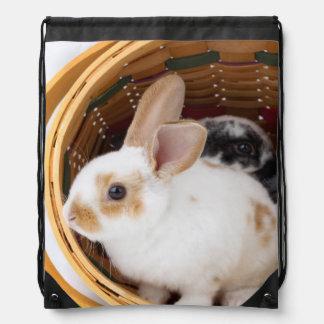 Young Rex rabbits in Easter basket Drawstring Bag