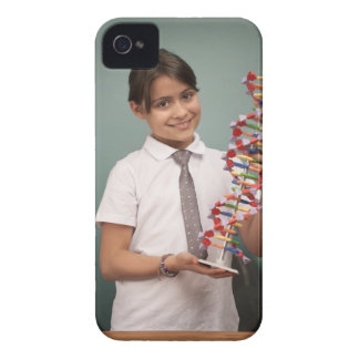 Young schoolgirl holds a colorful model iPhone 4 Case-Mate case